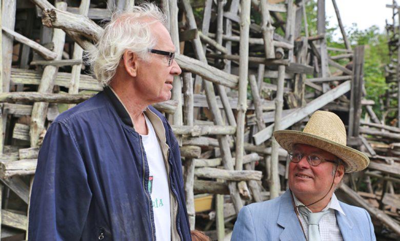 Lars Vilks and Minister of Art Fredrik Larsson at 40th Anniversary of Nimis